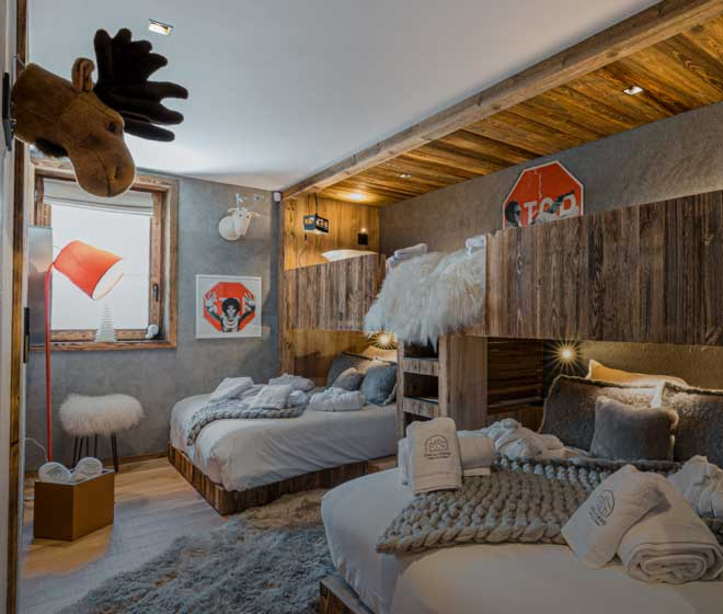 Chalet Orca Espace Nuit chambre spacieuse de 6 couchages, grand confort