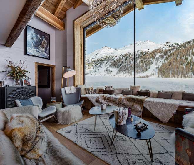 location chalet luxe val d'Isère;Orca&Orso; vue panoramique sur les Alpes Française; dimension unique; chalet somptueux et spacieux; capacité d'accueil exceptionnelle 29 personnes