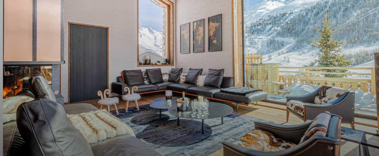 location Chalet Orso salon espace détente luxueux, cocooning chaleureux; Alpes françaises dimension spectaculaire